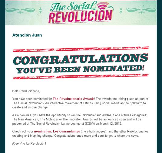 ¡Qué Nice! I'm Officially Nominated as a Revolucionario!